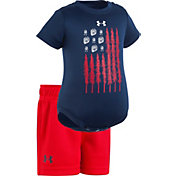 Under Armour Newborn Boys' Tracks and Trees Flag Onesie/Short Set