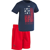 Under Armour Infant Boys' Tracks and Trees Flag T-Shirt/Short Set