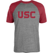 USC Authentic Apparel Men's USC Trojans Grey/Cardinal Disblock Raglan T-Shirt