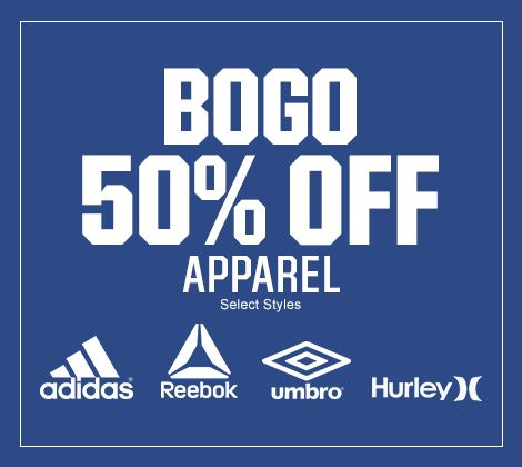 BOGO 50% off adidas & Reebok Apparel