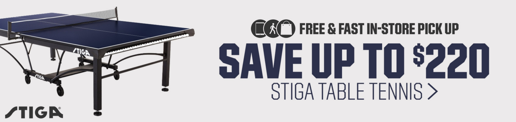 Free & Fast In-Store Pick Up + Save up to $220 on Stiga Table Tennis