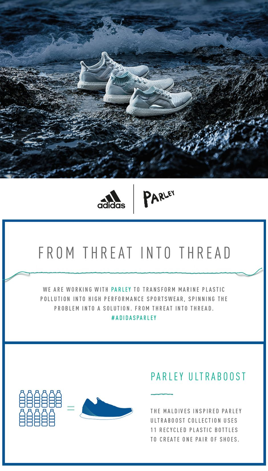 adidas Parley - We are working with Parley to transform marine plastic pollution into high performance sportswear. Spinning the problem into a solution.