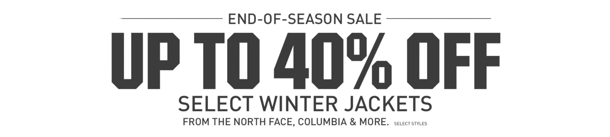 Up to 40% off Select Winter Jackets - Shop Now