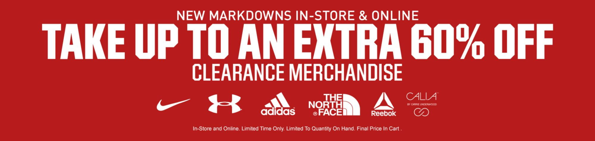 Take up to an extra 60% Off Clearance Merchandise