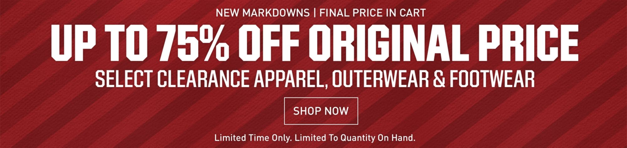up to 75% off original price when you take an additional 10%-40% off select clearance