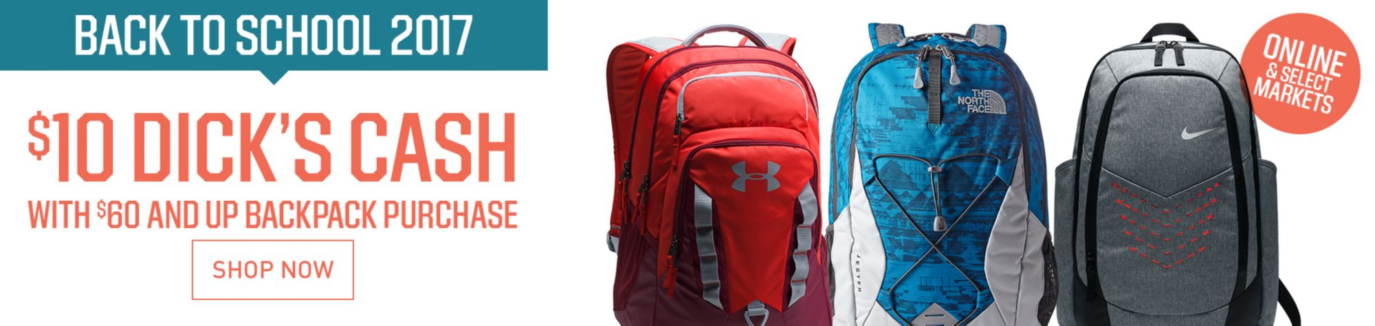 $10 DICK'S Cash With $60 And Up Backpack Purchase