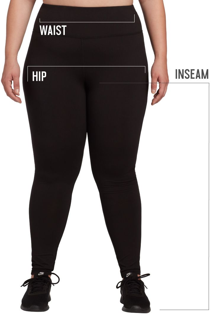 How to measure Plus Sizes for Women with indicators for inseam, waist, and hip.