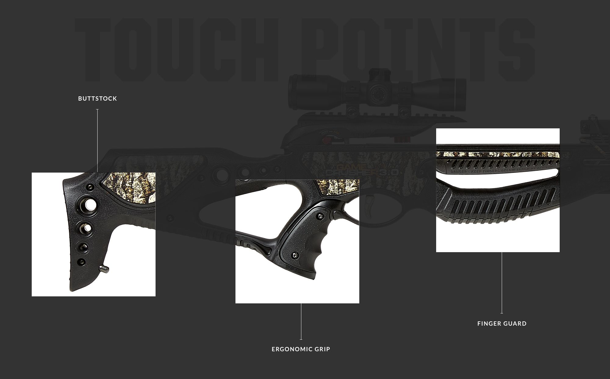 The touch points of the Branett Crossbow 3.0.