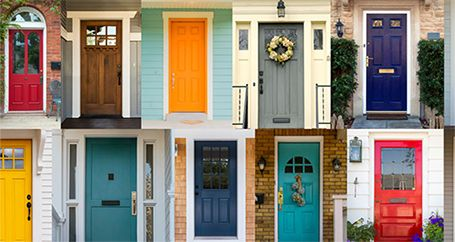 Contrasting front doors of different houses for sale