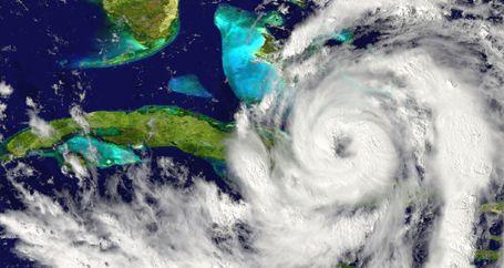 Eye of hurricane on radar