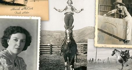 Cowgirl performing in old-fashioned rodeo with horses