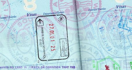 Stamped passport of frequent traveler