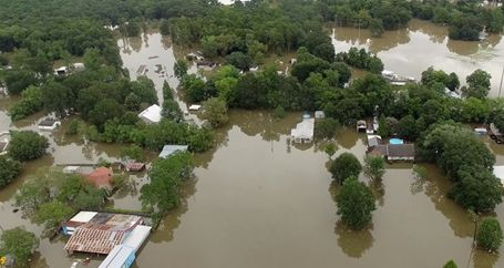 Homes in small town flooded with storm water