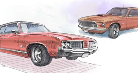 Ford Mustang and Oldsmobile Cutlass classic muscle cars