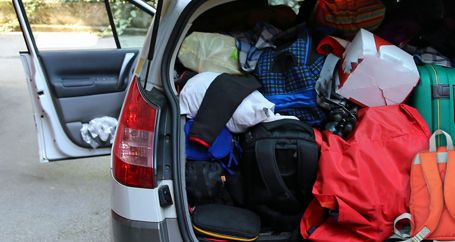 Car packed with family possessions for disaster evacuation