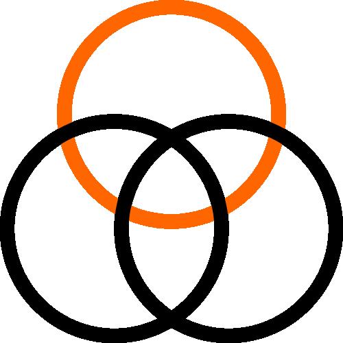 2 color icon 3 circles venn diagram