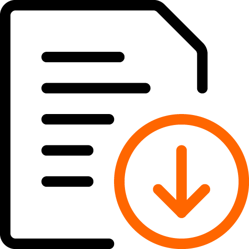 2 color icon paper down arrow