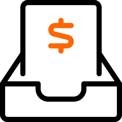 2 color icon paper with dollar sign