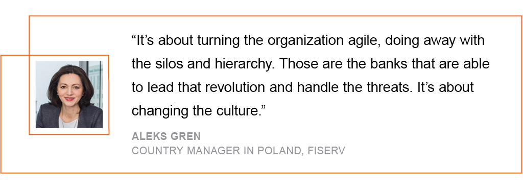 It's about turning the organization agile, doing away with the silos and hierarchy.
