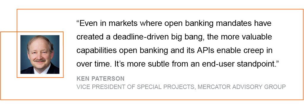 Even in markets where open banking mandates have created a deadline-driven big bang, the more valuable capabilities open banking and its APIs enable creep in over time
