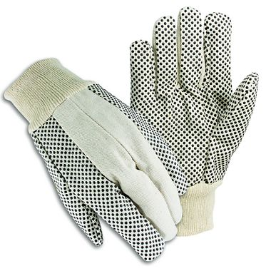 Cotton Canvas Gloves with Plastic Dots, Men's 10 oz.
