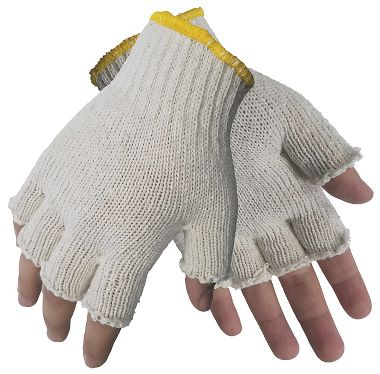 Fingerless String Knit Gloves, Men's Cotton Blend