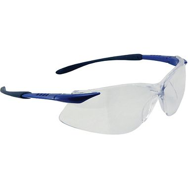 Crest Safety Glasses, Black/Blue Frame, Fog Free Clear Lens