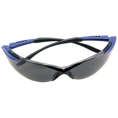 Crest Safety Glasses with Black/Blue Frame and Gray Lens
