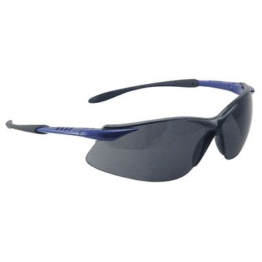 Crest Safety Glasses, Black/Blue Frame, Fog Free Gray Lens