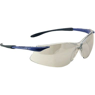Crest Safety Glasses, Black/Blue Frame, Indoor-Outdoor Lens