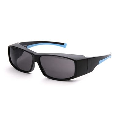 SpekZ Fitover Safety Glasses, Black /Blue Frame, Gray Lens
