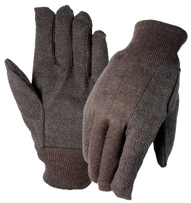 Brown Jersey Gloves with Plastic Dots, Ladies' 9 oz.