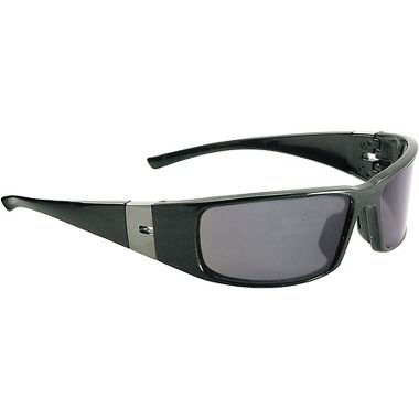 Shine Safety Glasses, Black/Silver Frame Fog Free Gray Lens