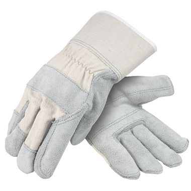 Select Leather Double Palm Gloves with White Back, Safety Cuff