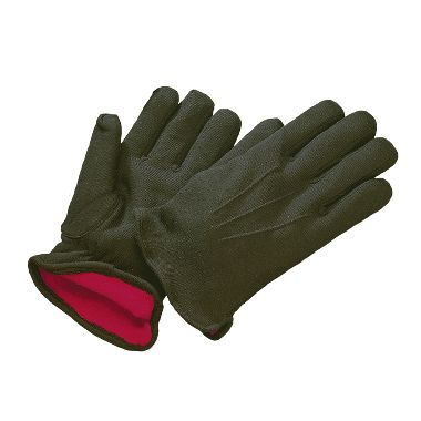 Brown Jersey Gloves with Red Flannel Lining, Men's 14 oz.