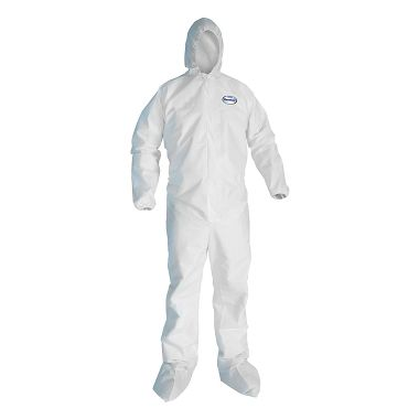 KC A40 Disposable Coverall w/ Zipper Front, Elastic Wrists, Ankles, Hood & Boots