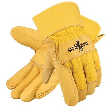 Rough Rider® Grain Leather Double Palm Gloves, Safety Cuff, 1 Pair