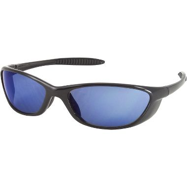 Spyder Sport Safety Glasses Black Gloss Frame w/ Blue Mirror Lens