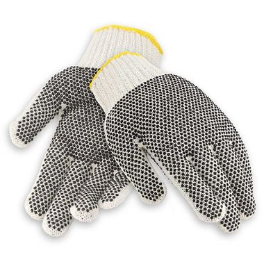 String Knit Gloves with Plastic Dots, Men's Cotton Blend
