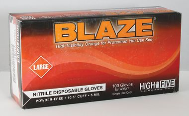 Blaze™ High-Visibility Orange, Powder Free, Nitrile Exam Gloves, 5 Mil