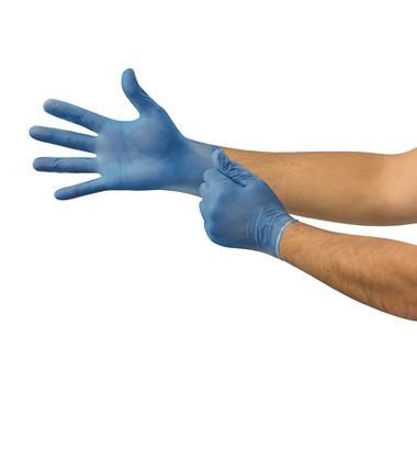 High Five® Vinyl Disposable Gloves, Blue, Powder-Free, 5 Mil