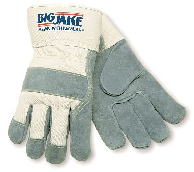 Big Jake® Leather Safety Cuff Gloves, Fully Lined with Non-Woven Dupont™ Kevlar® Fiber
