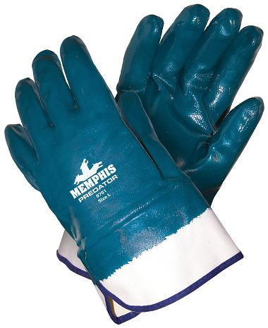 Predator® Gloves, Nitrile Fully Coated w/ Safety Cuffs