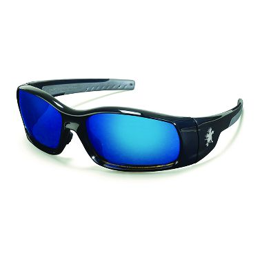 Swagger® Safety Glasses, Polished Black Frame, Blue Mirror Lens