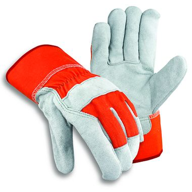 Leather Palm Gloves with Orange Back & Safety Cuff