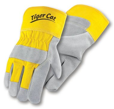 Tiger Cat™ Premium Leather Palm Gloves With Safety Cuff, Sewn with Cut Resistant Thread