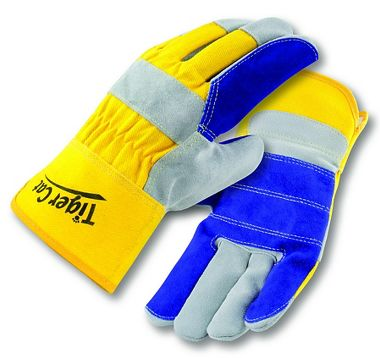 Tiger Cat™ Premium Leather Double Palm Gloves, Safety Cuff, Sewn w/ Cut Resistant Thread1P