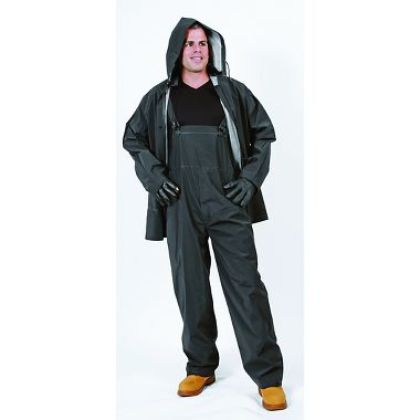 Repel Rainwear™ Rainwear 3 Piece 0.35mm PVC/Polyester Rain Suit, Black