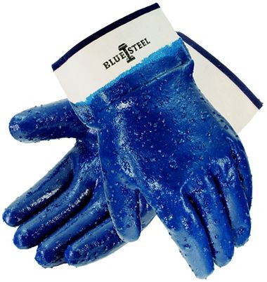 Blue Steel™ Nitrile Rough Coated Gloves, Safety Cuff