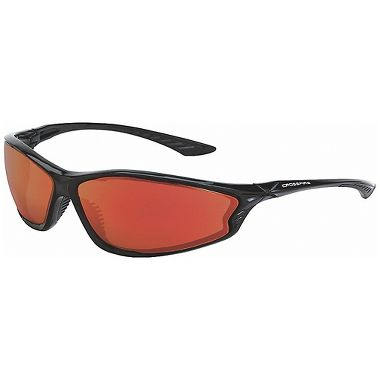 Crossfire® KP6™ Safety Glasses, Shiny Black Frame, Red Mirror Lens